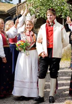 Traditional Wedding Costumes And Bridal Crown From Norway