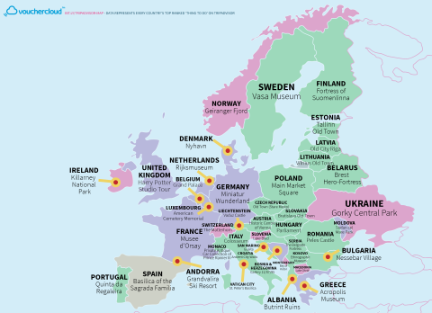 A Map That Shows The Top Tourist Attractions In Every Country